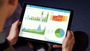 Tablet with a business analytics dashboard - Virtuagym